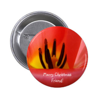 Merry Christmas Friend buttons Holiday Red Tulip