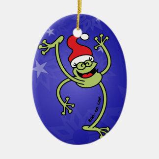 Merry Christmas Frog Ceramic Ornament