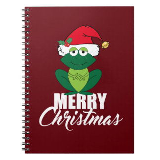 Merry Christmas Frog Spiral Notebook