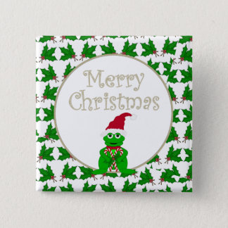 Merry Christmas Frog with Candy Cane Button