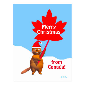 Merry Christmas from Canada Beaver Postcard