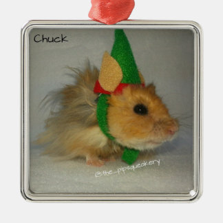 Merry Christmas from Chuck the Elf Square Metal Christmas Ornament
