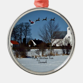 Merry Christmas from Denmark Metal Ornament