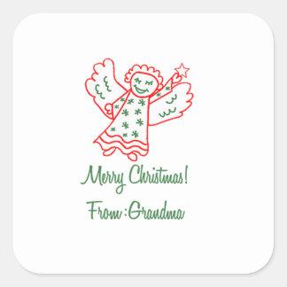 Merry Christmas From Grandma Angel Square Sticker