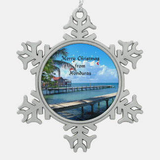 Merry Christmas from Honduras Snowflake Pewter Christmas Ornament