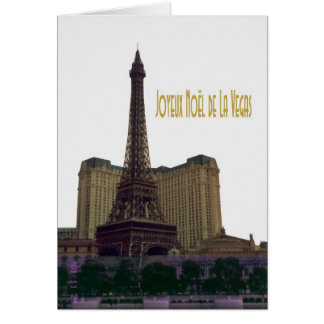 Merry Christmas From Las Vegas Eiffel Tower Card