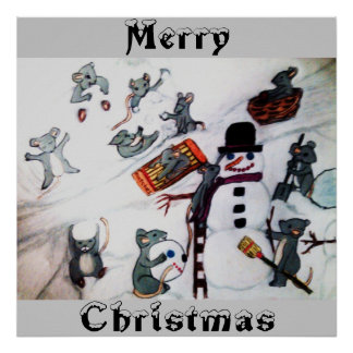 MERRY CHRISTMAS FROM MICE IN SNOW poster