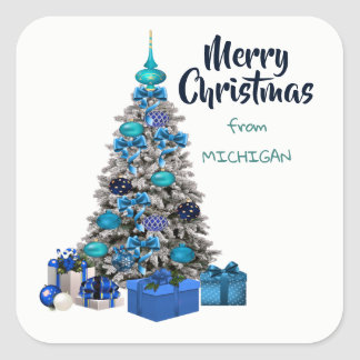 Merry Christmas From Michigan Decorated Tree Square Sticker