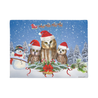 MERRY CHRISTMAS FROM OWL OF US! DOORMAT