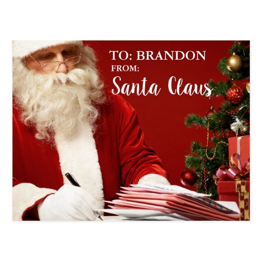 Merry Christmas From Santa Claus ADD NAME Red Postcard