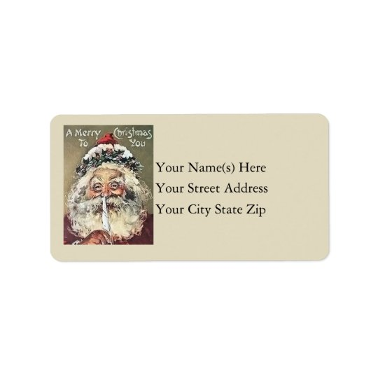 Merry Christmas From Santa Vintage Address Label