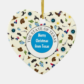 Merry Christmas from Texas Ceramic Heart Decoration