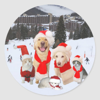 Merry Christmas from the gang! Classic Round Sticker