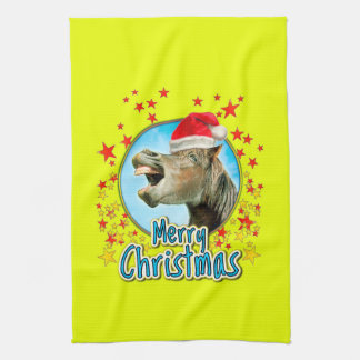 Merry Christmas from the laughing horse Tea Towel