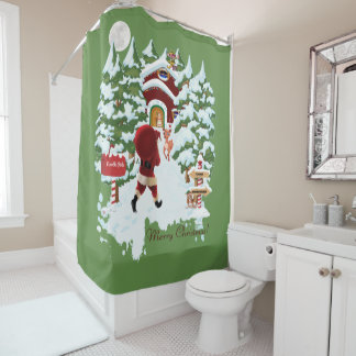 Merry Christmas from the North Pole Santa Clause Shower Curtain