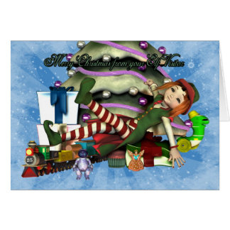 Merry Christmas from your Elf Visitor Greeting Card