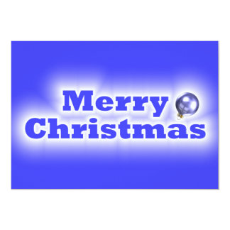 Merry Christmas Frosted - Blue 13 Cm X 18 Cm Invitation Card