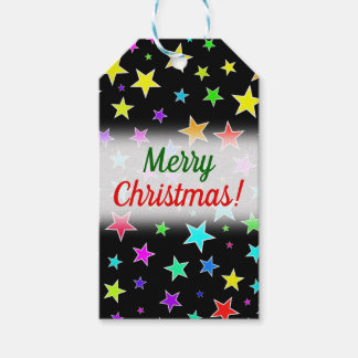 """Merry Christmas!"" + Fun, Colorful Stars Pattern Gift Tags"