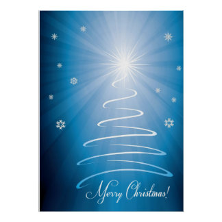 Merry Christmas Funky Christmas Tree Posters