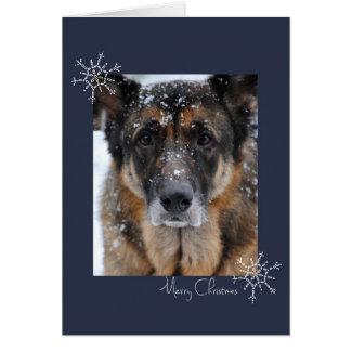 Merry Christmas German Shepherd in the Snow Card