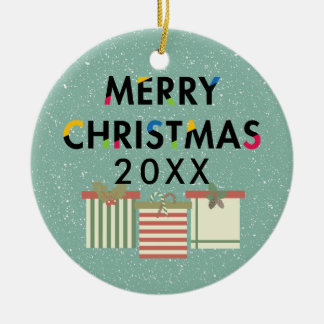Merry Christmas Gift Boxes Holiday Wreath Ceramic Ornament