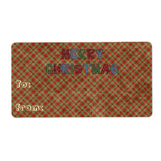 Merry Christmas Gift Name Tags Labels