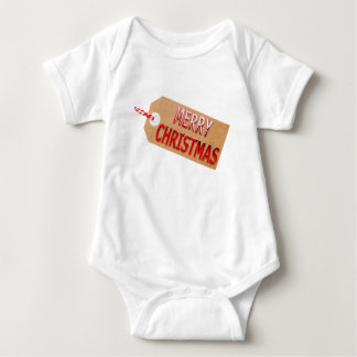 Merry Christmas Gift Tag Baby Bodysuit
