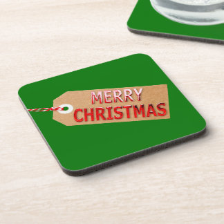 Merry Christmas Gift Tag Beverage Coaster