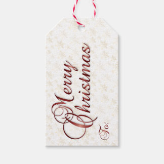Merry Christmas Gift Tag in Gold & Red