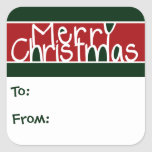 Merry Christmas Gift Tags Square Stickers