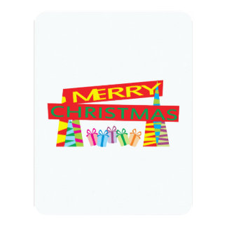 """Merry Christmas Gifts Invitation Postage Label Art 4.25"""" X 5.5"""" Invitation Card"""