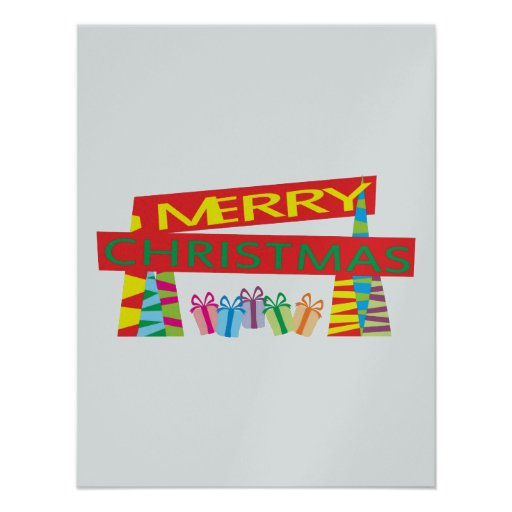 Merry Christmas Gifts Invitation Postage Label Art