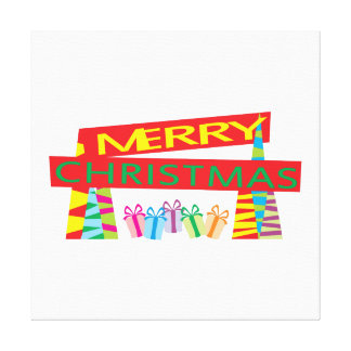 Merry Christmas Gifts Invitation Postage Label Art Stretched Canvas Prints