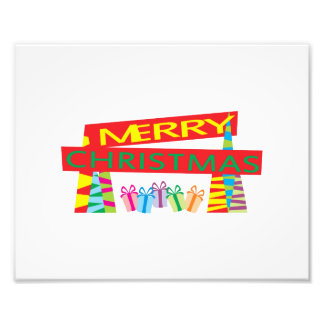Merry Christmas Gifts Invitation Postage Label Art Photograph