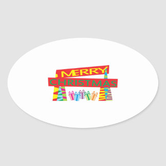 Merry Christmas Gifts Invitation Postage Label Art Oval Stickers