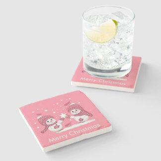Merry Christmas Stone Beverage Coaster
