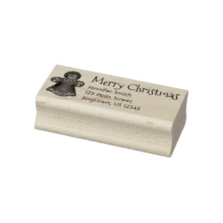 Merry Christmas Gingerbread Cookie Address Stamp