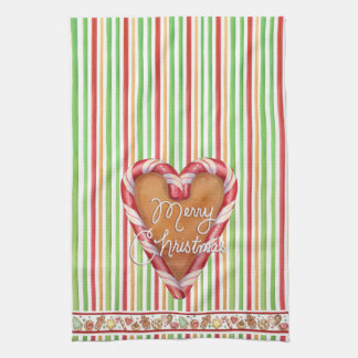Merry Christmas Gingerbread Heart Tea Towel