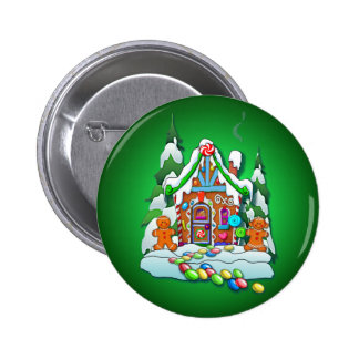 MERRY CHRISTMAS GINGERBREAD HOUSE by SHARON SHARPE Button