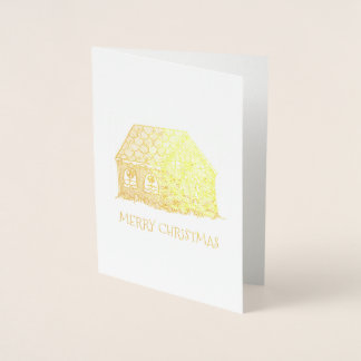 Merry Christmas Gingerbread House Holiday Xmas Foil Card