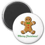 Merry Christmas Gingerbread Man 6 Cm Round Magnet