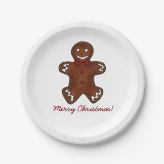 Merry Christmas Gingerbread Man Cookie Plates 7 Inch Paper Plate
