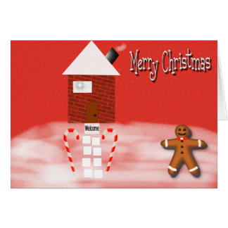 Merry Christmas Gingerbread Man House Greeting Card