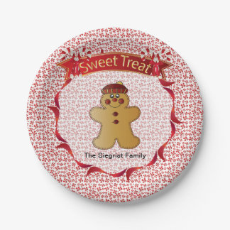 Merry Christmas Gingerbread Man Paper Plate