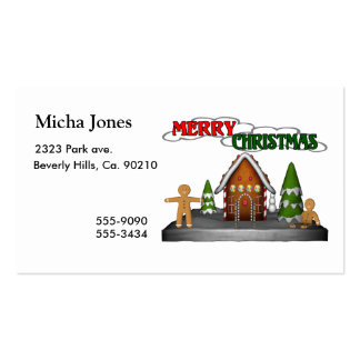 Merry Christmas Gingerbread Scene Double-Sided Standard Business Cards (Pack Of 100)