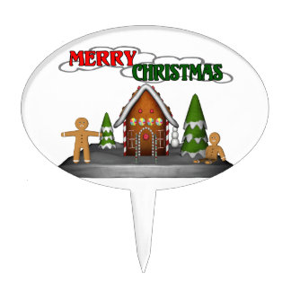 Merry Christmas Gingerbread Scene Cake Toppers