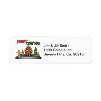Merry Christmas Gingerbread Scene Return Address Label