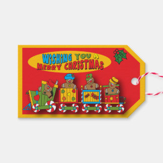 Merry Christmas Gingerbread Train Gift Tags