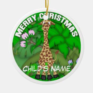 Merry Christmas Giraffe Ceramic Ornament