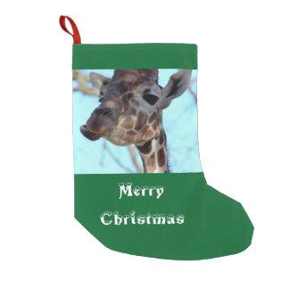Merry Christmas Giraffe Photo Small Christmas Stocking